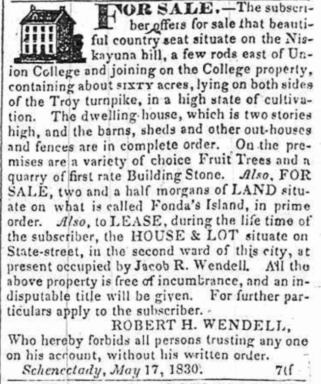 May 1830 Sale of Land - BANA Schenectady Wendell