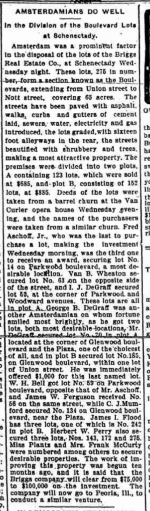 Article from the Amsterdam Daily Democrat, October 25, 1901