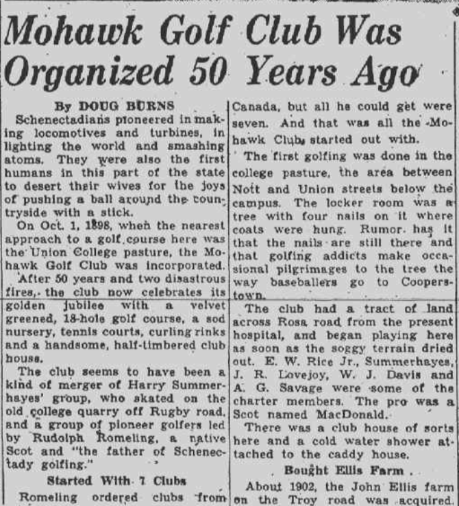 """October 1948 Schenectady Gazette article recalls skating on the """"old college quarry"""
